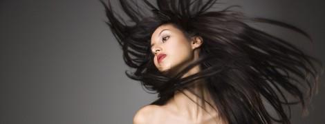 Woman flinging long hair.